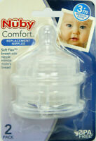 Nuby Comfort Replacement Nipples - Medium Flow For 3M+ - NEW PACK OF 2