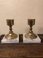 Vintage Brass & Marble Candlestick Holders - Set of 2