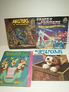 3 Vintage kids See Hear Read Story Books and Records Transformers, MOTU, gremlin