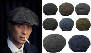Peaky Blinders Mens Newsboy Flat Cap Herringbone Tweed Baker Boy Gatsby 100%WOOL