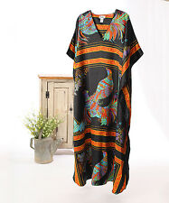 Winlar BLACK & ORANGE Satin V Neck Caftan Kaftan Cover-Up Dress Gown Robe * OSFM