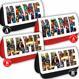 MARVEL PERSONALISED LOGO Pencil Case Bag Superheroes Hulk Avengers Any Name Gift