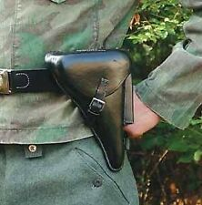 """LUGER HOLSTER Black Leather with 1-3/4"""" wide BELT and BUCKLE Costume Prop New"""