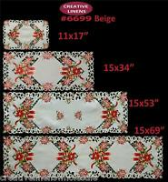 Christmas Poinsettia Candle Placemat Table Runner Tablecloth Holiday 6699E