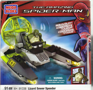 Mega Bloks 91338 The Amazing Spider-Man Lizard Sewer Speeder NEW