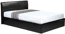 Small Double Black Ottoman Lift up Storage Faux Leather Bed - Also Available