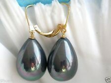 Lovely high lustre black peacock seashell pearl drop earrings 18ct gold plated