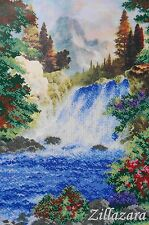 Stickpackung mit Perlen Stickset Stickvorlage Stickbild Gebirgs-Wasserfall 6