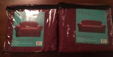 Chezmoi Collection Soft Heavyweight MicroSuede Slipcover Sofa/Couch Burgundy Red