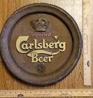 "Vintage IMPORTED CARLSBERG BEER WALL SIGN Molded Foam Faux Wood Keg Lid 16"""