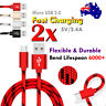 2X 1M Braided Fast Charging Micro USB Charger Data Sync Cable Huawei Y5 2017 Y7
