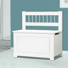 Large Wooden Ottoman Chest Toy Box Nursery Kids Storage Trunk White Bench Seat