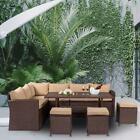 Yard Patio Wicker Furniture Outdoor 9 Seats Rattan Sofa Garden Conversation Set
