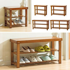 Wooden Shoe Storage Bench Shelves Entryway Organizer Rack Cabinet Seat Stool