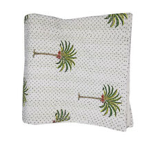 Palm Tree Hand Block Print Kantha Quilt kantha bed cover throw Indian Bedspread