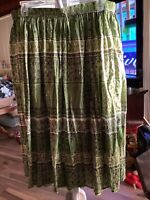 Jane Ashley Maxi Skirt Boho Fashion Size 3X Beautiful Greens Casual Comfortable