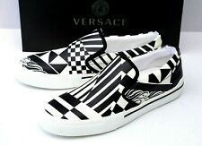 Versace Mens Black and White Leather Slip-on Deck Sneakers Size 10/43 EU $795.00