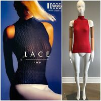 WOLFORD Austria Gr.M LACE Sleeveless Stretch Mock Neck Tee Top