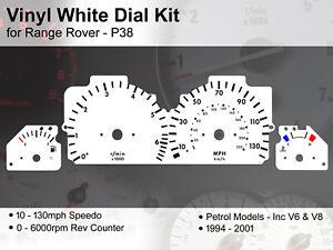Range Rover P38 (1994 - 2001) - 130mph / 6000rpm V6 & V8 - Vinyl White Dial Kit