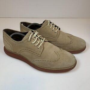 Cole Haan Lunar Grand Men's Wingtip Casual Shoes Size 9.5 M Suede Tan