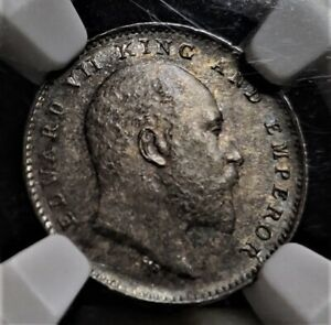 British India, 1905, 2 Annas, NGC MS 64, Calcutta Mint, Silver Coin, KM# 505.