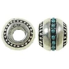 Round Light Blue Acrylic Pearl Design Charms Silver Tone Bead European Bead Comp