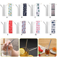 5pcs Reusable Stainless Steel Metal Drinking Straw+Cleaner Brush Coffee Tee Tool