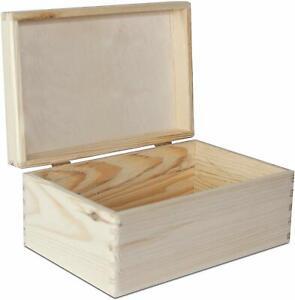 Creative Deco Natur Holz-Kiste mit Deckel | 30 x 20 x 14 cm (+/-1cm)