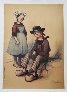 After Francisque Poulbot (1879-1946) Huge Lithograph c. 1915, Rare