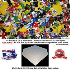 "1 Genuine LEGO Minifigure. Plus Bonus: 10 White 10"" x 10"" compatible Base Plates"