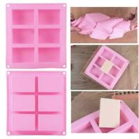 6Cavity Plain Rectangle Soap Mold Craft Silicone DIY Tool Cake Homemade U8S3