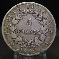 5 Francs Napoleon Bonaparte Empereur SILVER Coin 1812 A
