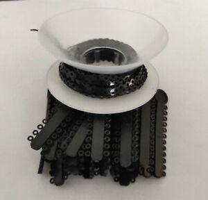 1 Pack Ligature Ties 1008Pcs &1 Pc Elastic Power Chain 15 Feet Short Black Color