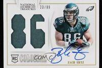 2013 National Treasures Jersey Number Signatures 23/99 Zach Ertz #40 Rookie Auto