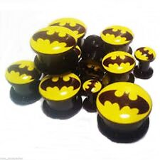 "Stash Ear Plugs 12mm/1/2"" Gauge Bo Pair-Batman Dc Comics Black Acrylic Screw On"