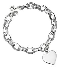 Beautiful Solid Genuine 925 Sterling Silver Oval Link Bracelet with Heart Charm