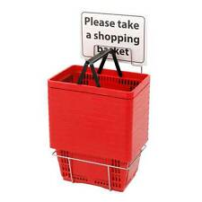 Count of 12 Red Shopping Basket Set with Stand 16 in. W x 11 1/2 in. D x 9 in. H