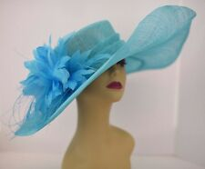 Kentucky Derby Church Wedding Feather Flower Sinamay Wide Hat 58 (Turquoise)