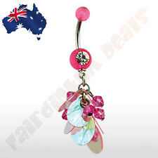 316L Surgical Steel Belly Ring with Acrylic Gem Dangle