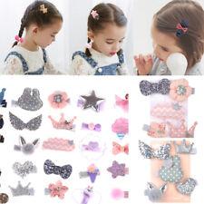 5Pcs Handmade Kids Bowknot Hair Clips Barrette Hairpin Girls Hair Accessories