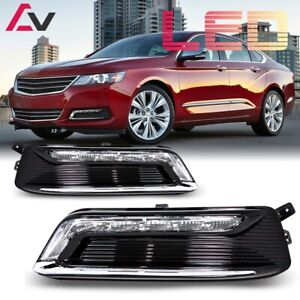 14-20 For Chevy Impala Clear Lens Pair OE LED DRL Fog Light +Wiring+Switch Kit