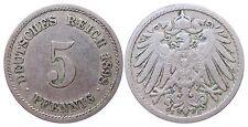 J 12   5 Pfennig KAISERREICH 1898 F in SS-  502909