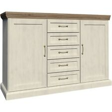 Devonshire White Ash And Oak 2 Door 5 Drawer Sideboard   Modern Furniture