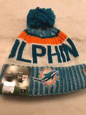 Miami Dolphins Beanie Cap Hat Nfl Football One Size New Era Cuffed Knit On Field