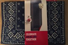 """Celebrate Local Life Together Blue & White Quilted Bandana 36"""" Table Runner"""