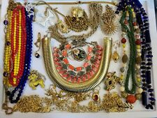 Vintage Mod Necklace LOT Cloissonne Victorian Eggs+ Crown Trifari Sterling+