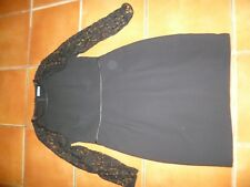 WHISTLES BLACK SHIFT DRESS & LACE SLEEVES, 14