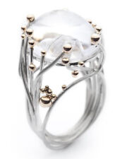 Chic Women 14K White Gold Plated Moonstone Wedding Band Engagemet Ring Size 6-10