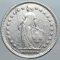 1914 SWITZERLAND - SILVER 2 Francs Coin HELVETIA Symbolizes SWISS Nation i89019
