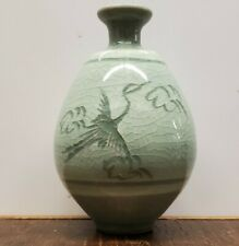 Celadon Green Vase With Crane